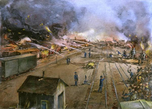 American Car Drawing - Pullman Strike, 1894 by Granger