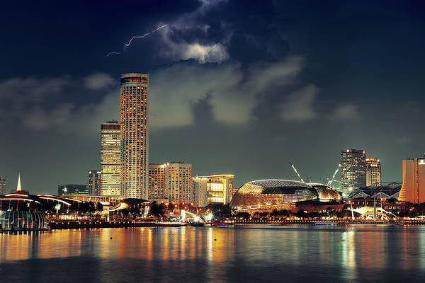 Photograph - Singapore Skyline by Songquan Deng