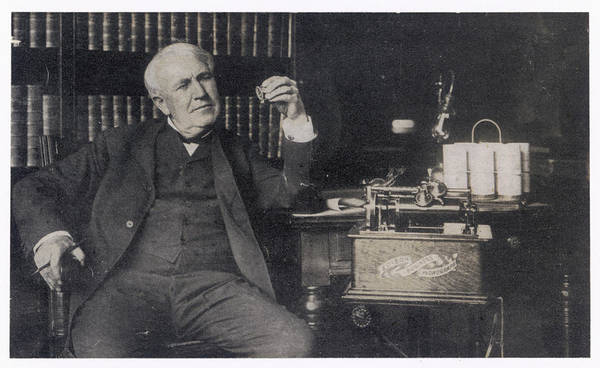 Wall Art - Photograph - Thomas Alva Edison  American Inventor by Mary Evans Picture Library