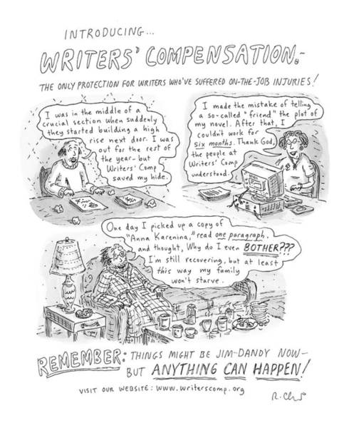 Suffering Drawing - Writers' Compensation by Roz Chast