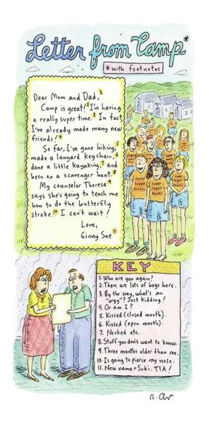 Summer Camp Drawing - Letter From Camp* by Roz Chast