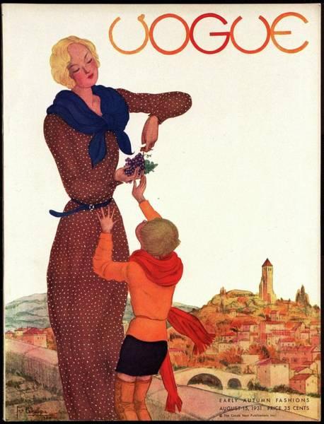 Grape Photograph - A Vintage Vogue Magazine Cover Of A Woman by Georges Lepape