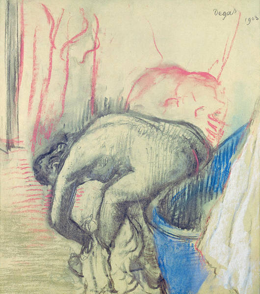Curve Drawing - After The Bath by Edgar Degas