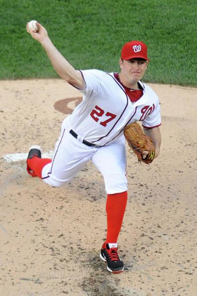 Baseball Pitcher Photograph - Atlanta Braves V Washington Nationals by Mitchell Layton