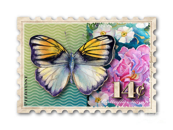 Wall Art - Painting - 14 Cent Butterfly Stamp by Amy Kirkpatrick