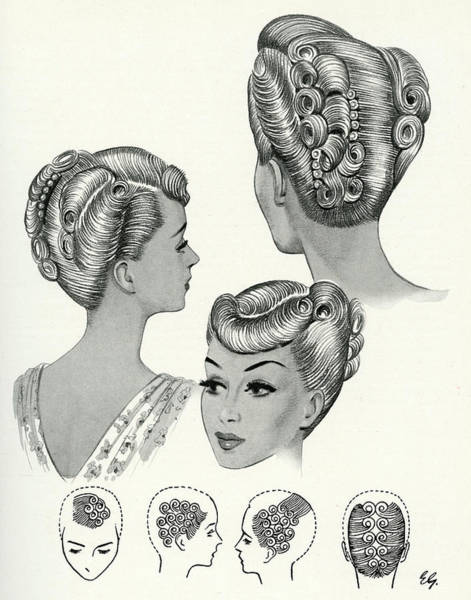Hairdo Drawing - During The 1940s, Elaborate Hair by Mary Evans Picture Library