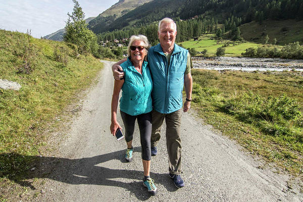Wall Art - Photograph - Senior Couple Hiking, Haute Route by Suzanne Stroeer