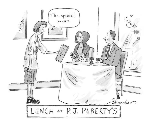 Lunch Drawing - New Yorker January 14th, 2008 by Danny Shanahan