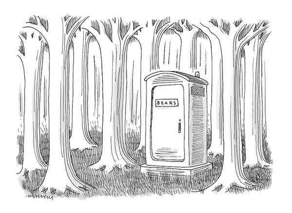 Woods Drawing - Captionless by Mick Stevens