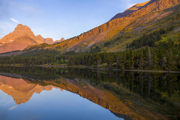 Photograph - 140917a-062 Mountains Reflected In Swiftcurrent Lake by Albert Seger