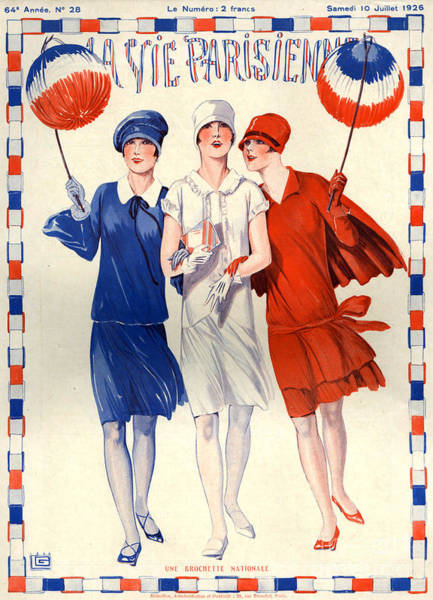Fashion Drawing - 1920s France La Vie Parisienne Magazine by The Advertising Archives