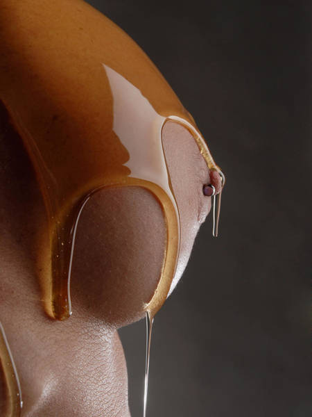 Photograph - 1453 Honey Coated Breast With Pierced Nipple by Chris Maher