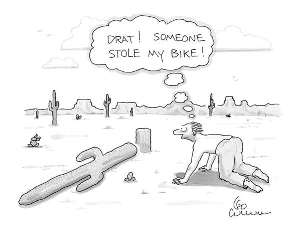 Bike Drawing - New Yorker October 11th, 2004 by Leo Cullum