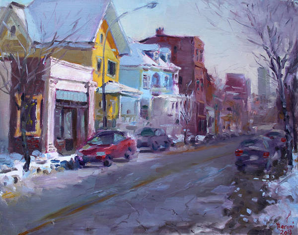 Snow Scene Painting - 149 Elmwood Ave Savoy by Ylli Haruni