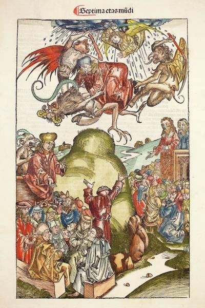 Woodcut Photograph - 1493 Nuremberg Chronicle Simon The Magus by Paul D Stewart