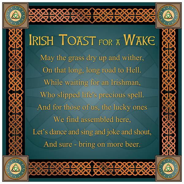 Wake Digital Art - An Irish Toast by Ireland Calling