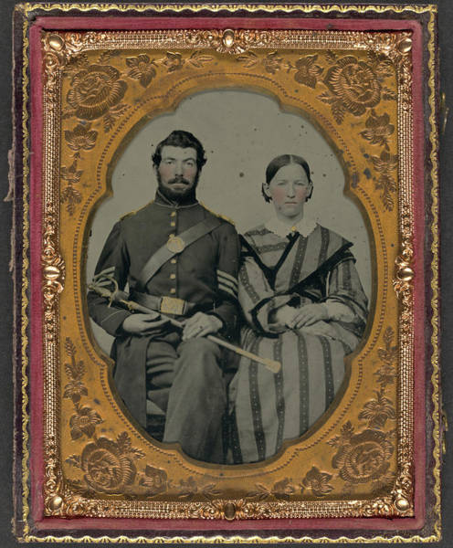 Wall Art - Painting - Civil War Couple, C1863 by Granger