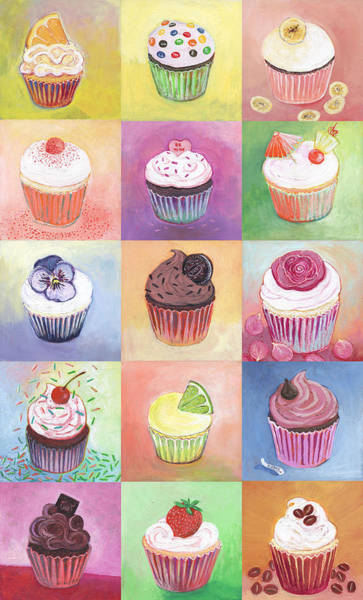 Square Painting - 15 Cupcakes by Jennifer Lommers