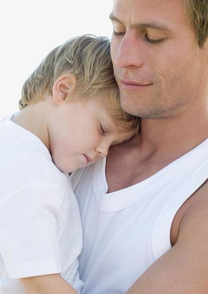 Cuddle Photograph - Father And Son by Ian Hooton/science Photo Library