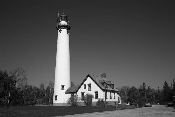 Photograph - Lighthouse - Presque Isle Michigan 6 Bw by Frank Romeo