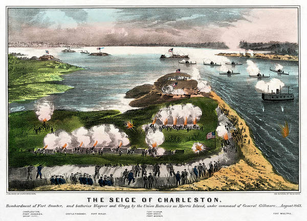 Wall Art - Painting - Siege Of Charleston, 1863 by Granger