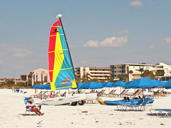 Kayaks Wall Art - Photograph - Usa, Florida, Sarasota, Crescent Beach by Bernard Friel