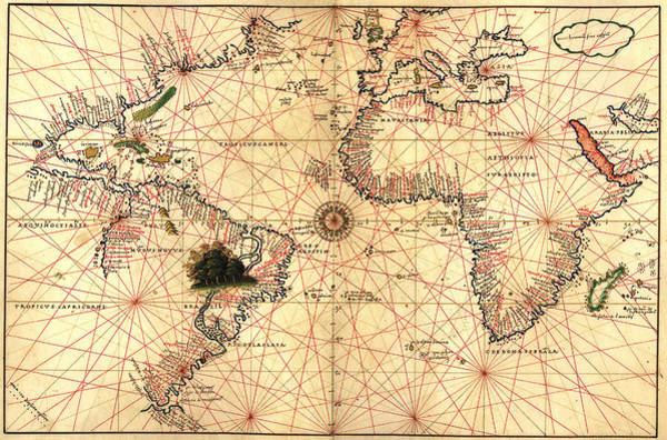 Painting - 1544 World Map  by Joan Olivo