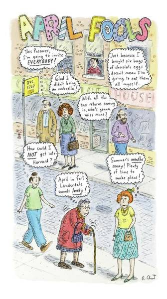 April 2nd Drawing - New Yorker April 2nd, 2007 by Roz Chast