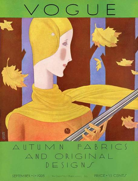Autumn Photograph - A Vintage Vogue Magazine Cover Of A Woman by Eduardo Garcia Benito