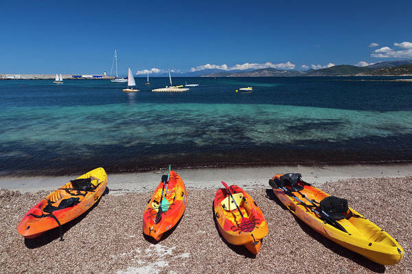 Kayaks Wall Art - Photograph - France, Corsica, La Balagne, Ile by Walter Bibikow