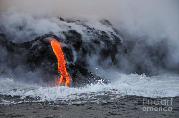 Wall Art - Photograph - Steam Rising Off Lava Flowing Into Ocean by Sami Sarkis