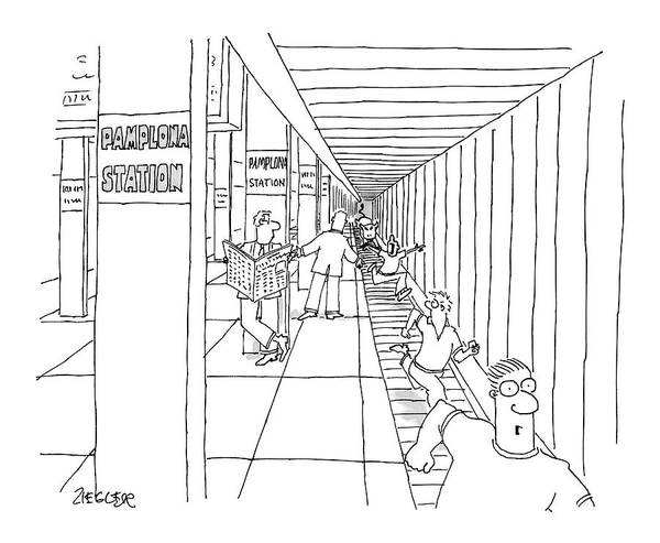 Train Drawing - New Yorker April 24th, 2006 by Jack Ziegler