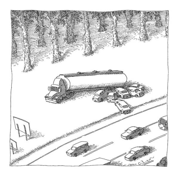 Highway Drawing - New Yorker June 12th, 2006 by John O'Brien