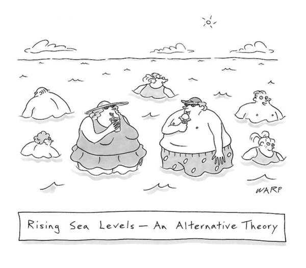 Global Warming Drawing - Rising Sea Levels - An Alternative Theory by Kim Warp