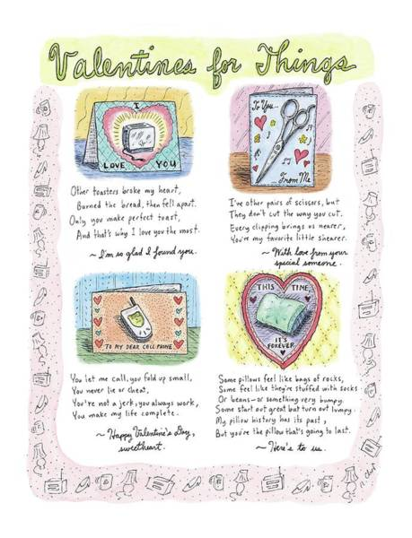 February 14th Drawing - Valentines For Things by Roz Chast
