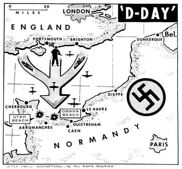 Wall Art - Painting - World War II D-day, 1944 by Granger