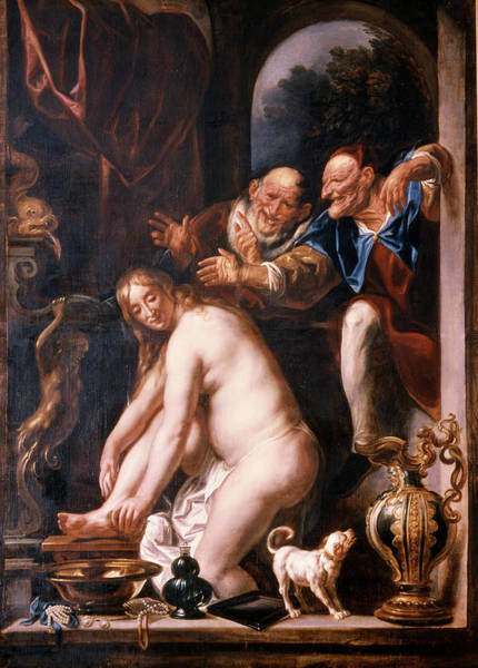 Virtue Painting - 1600s Susanna And The Two Old Ones by Vintage Images