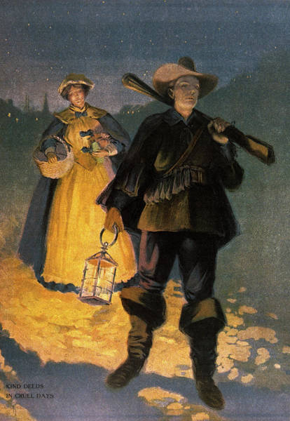 Night Walk Painting - 1600s The Walk Home For Pilgrim by Vintage Images