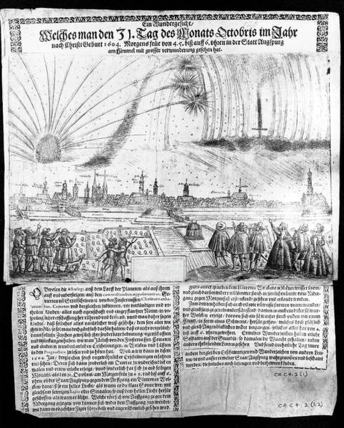 1604 Photograph - 1604 Engraving Of Aurora Borealis by Royal Observatory, Edinburgh/science Photo Library