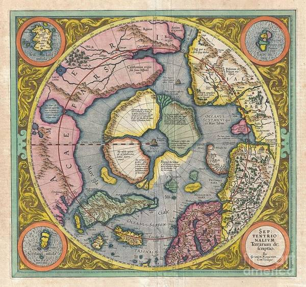 Return To Earth Photograph - 1606 Mercator Hondius Map Of The Arctic by Paul Fearn