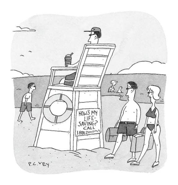 Seashore Drawing - New Yorker September 6th, 2004 by Peter C. Vey