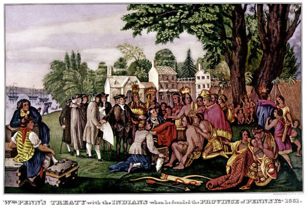 Currier And Ives Painting - 1680s William Penn Treaty With Indians by Vintage Images
