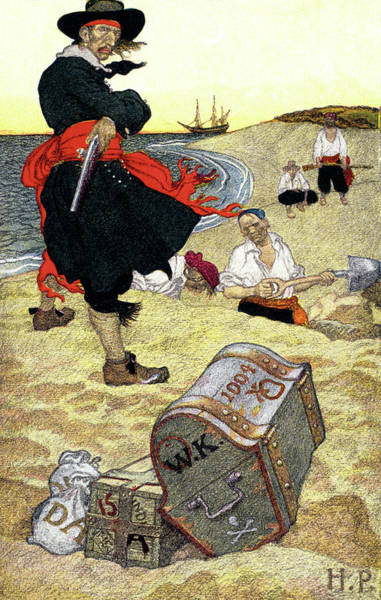 Buried Painting - 1690s Illustration Pirates On Beach by Vintage Images