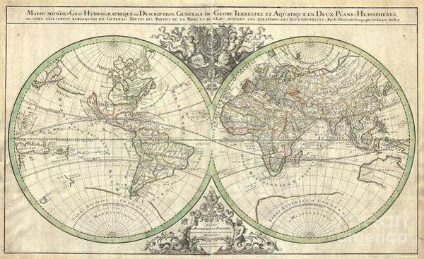 Made In Japan Wall Art - Photograph - 1691 Sanson Map Of The World On Hemisphere Projection by Paul Fearn