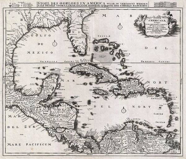 Encounter Bay Photograph - 1696 Danckerts Map Of Florida The West Indies And The Caribbean by Paul Fearn
