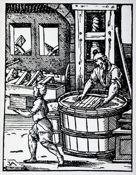 Manufacture Wall Art - Photograph - 16th Century Woodcut Showing Paper Making by Science Photo Library