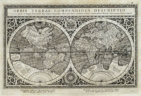 Cartography Photograph - 16th Century World Map by George Bernard/science Photo Library