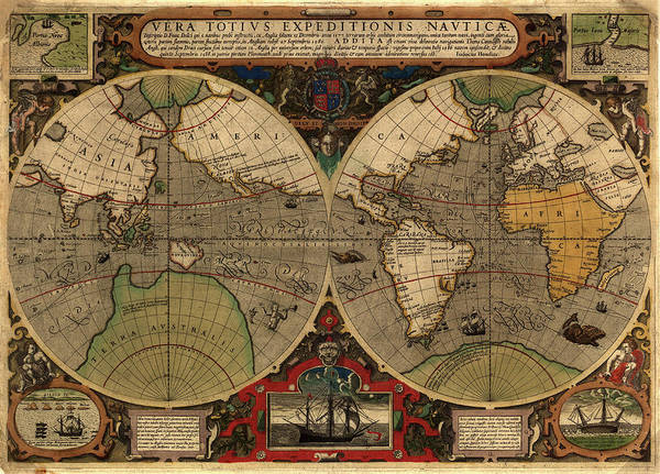 Cartography Photograph - 16th Century World Map by Library Of Congress/science Photo Library