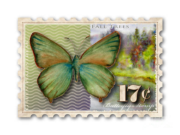 Painting - 17 Cent Butterfly Stamp by Amy Kirkpatrick