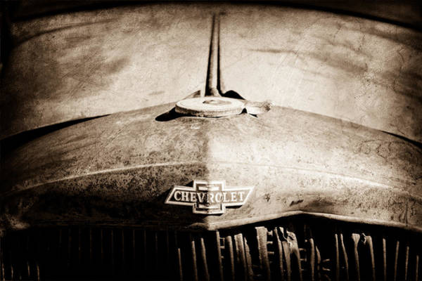 Old Chevy Photograph - Chevrolet Grille Emblem by Jill Reger